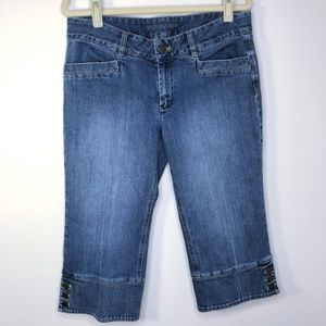 Michael Kors Denim Button Detail Cropped Jeans